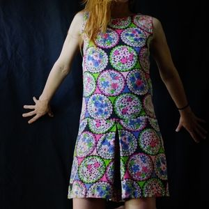 1960's abstract psychedelic romper ~ playsuit